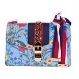 """""""Sylvie Flora"""" - Gucci bag, leather, blue, decorated with vegetal motifs and metallic appliqué"""