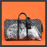 """""""Keepall Bandouliere 55"""" - Louis Vuitton x Chapman Brothers, travel bag, leather, black, decorated w"""
