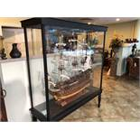 """HMS VICTORY WOODEN MODEL SHIP IN PLEXIGLASS ENCLOSED CASE. APPROX 65""""WIDE X 22"""" DEEP X 76"""" TALL"""