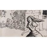 Jack Butler Yeats RHA (1871-1957)'A Moral Ballad of the Plague of Eyam 1666'Ink on paper, 7 x