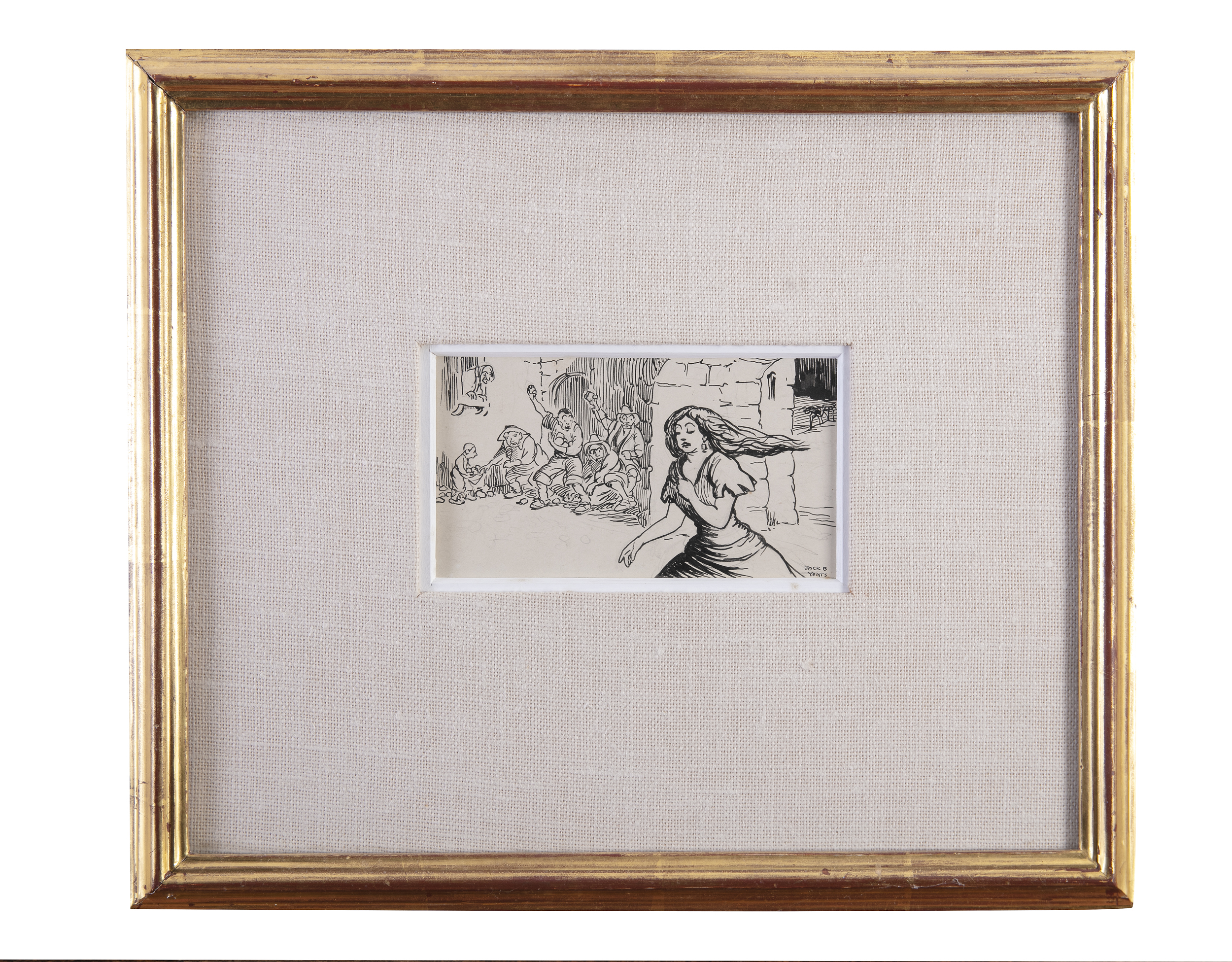 Jack Butler Yeats RHA (1871-1957)'A Moral Ballad of the Plague of Eyam 1666'Ink on paper, 7 x - Image 2 of 4