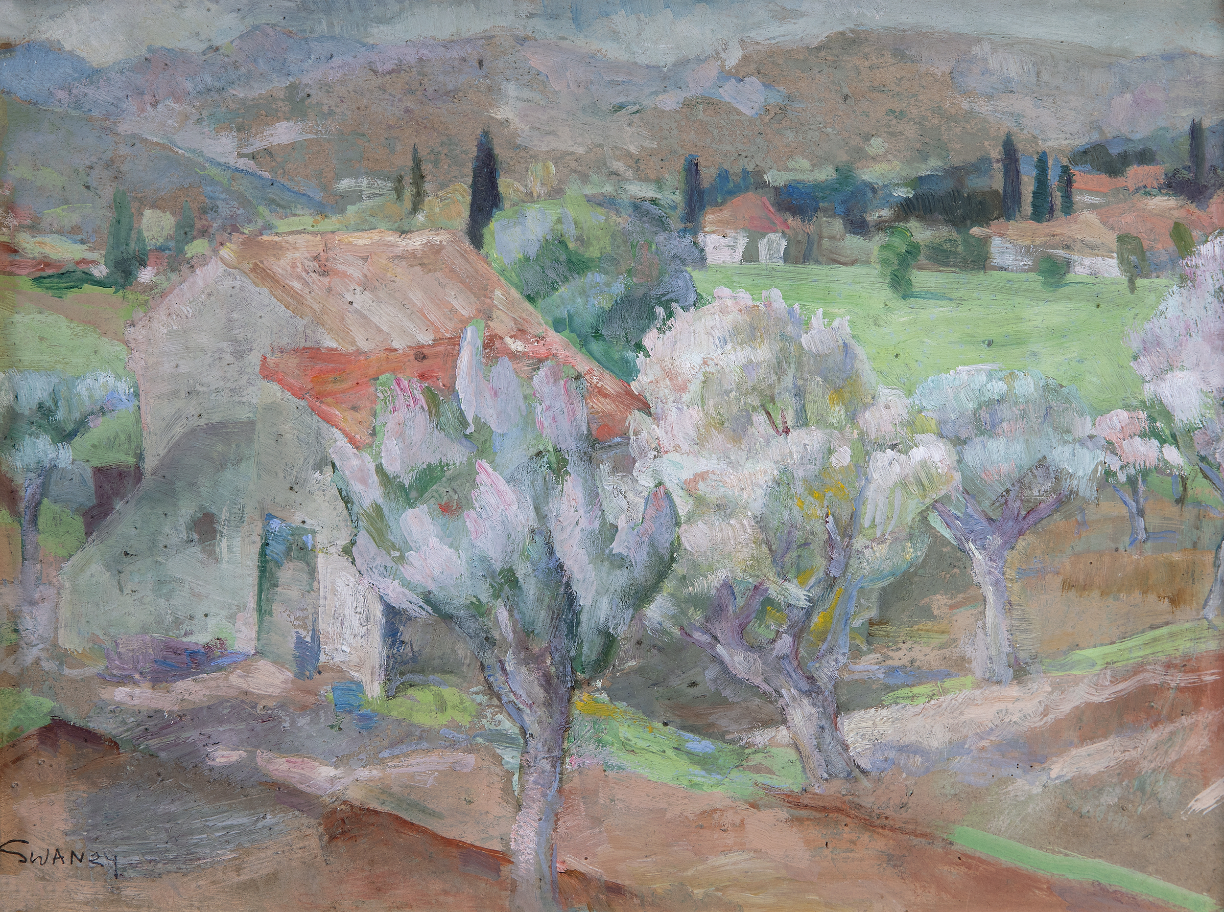 Lot 28 - Mary Swanzy HRHA (1882-1978)Olive Trees and LandscapeOil on board, 21 x 29cm (8¼ x 11½)