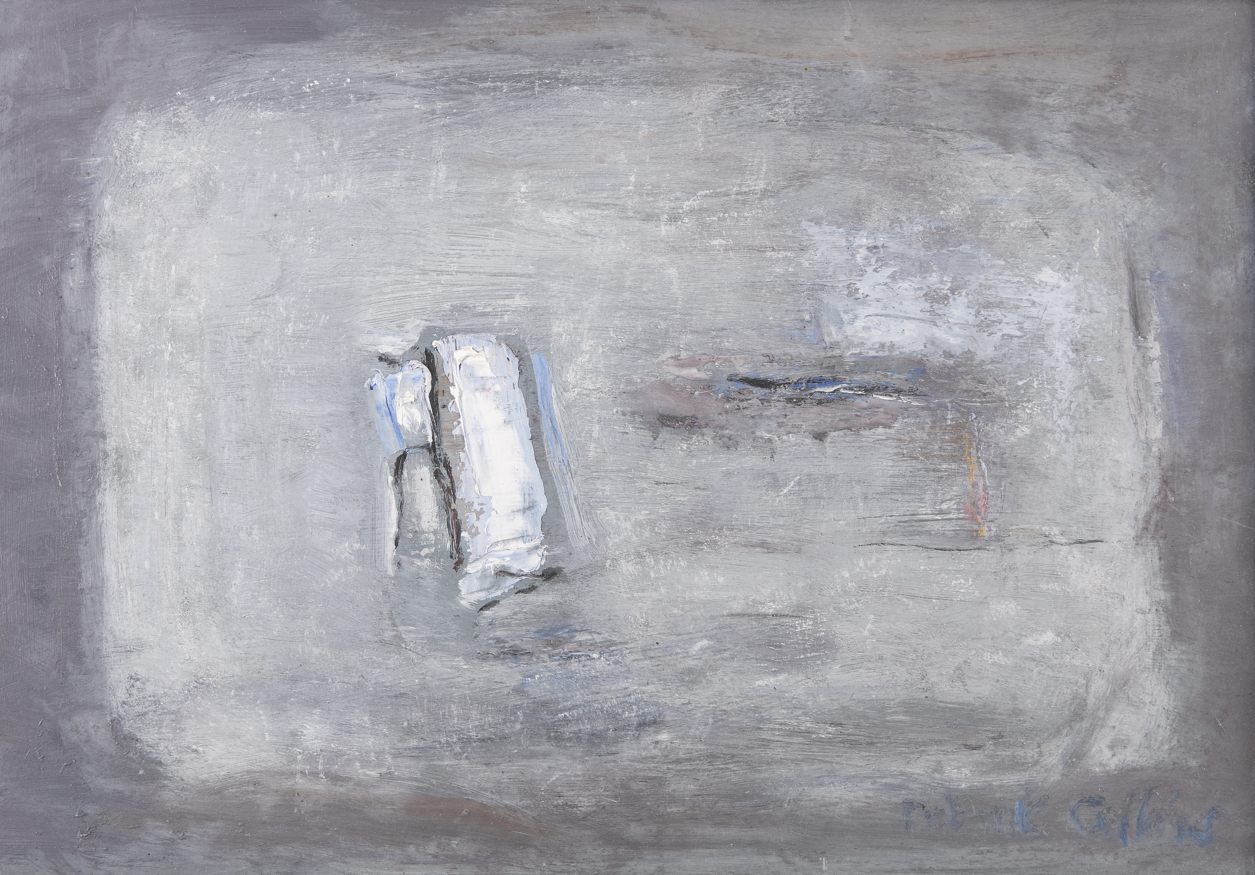 Lot 21 - Patrick Collins HRHA (1911-1994)Menhirs on the PlainOil on board, 34 x 50cm (13¼ x 19½)