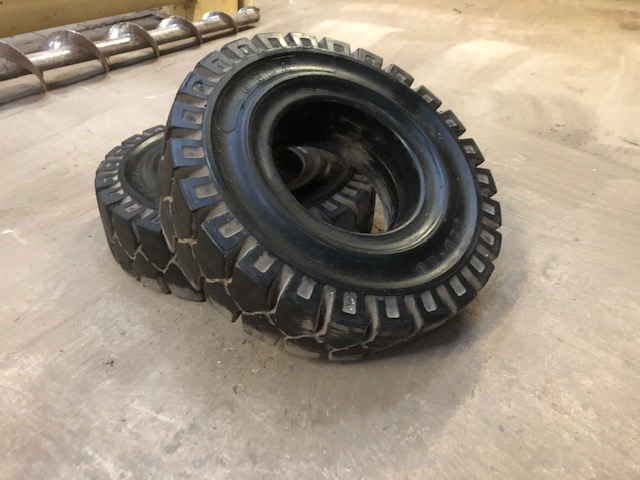 Lot 47 - Two Solid Rubber Fork Truck Tyres, each 6.50 - 10,