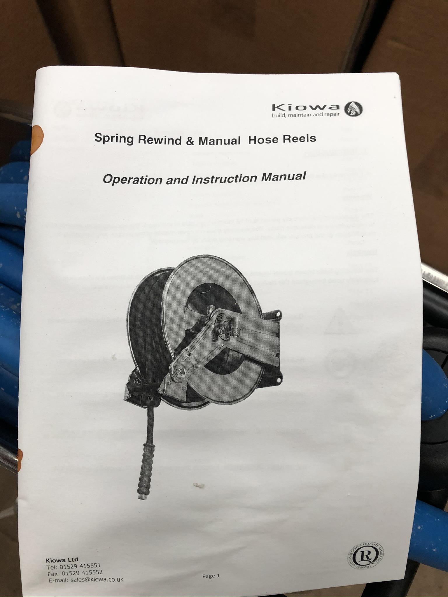 Lot 62 - Kiowa Spring Rewind & Manual Hose Reel, plant no.