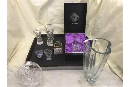 A Boxed Edinburgh Crystal Basket Crystal Vases Stuart Crystal Bowl Etc