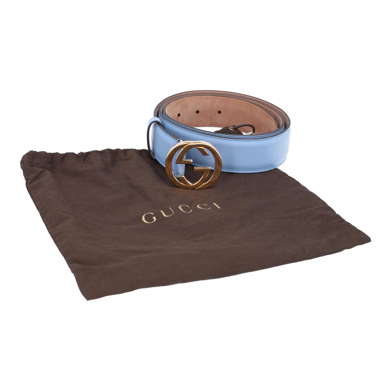 Los 24 - GUCCI Gürtel, Länge 95cm. Akt. NP.: 295,-€.Feines Leder in Hellblau mit goldfarbener GG-Schließe,