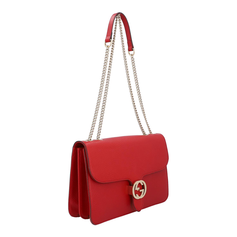 Los 54 - GUCCI Umgängetasche, NP. ca.: 1.800,-€.Grob genarbtes Leder in Rot mit goldfarbener Hardware,