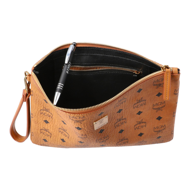 MCM Clutch, Akt. NP.: 375,-€.Reißverschluss Tasche mit Handgelenksband aus beschichtetem Canvas - Bild 6 aus 6