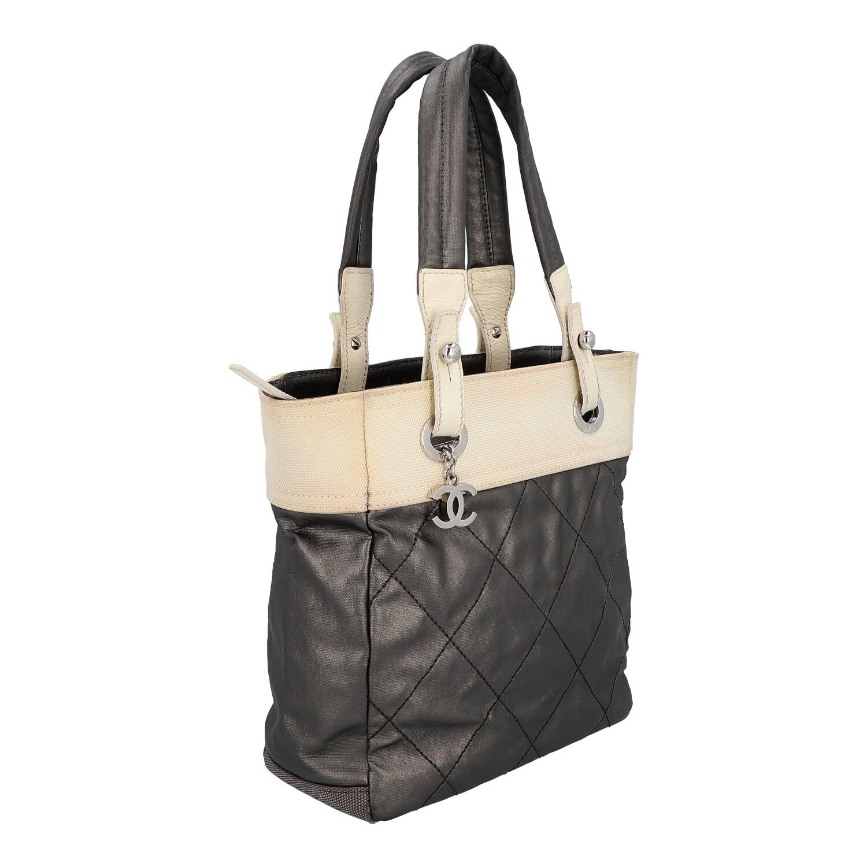 CHANEL Shopper Koll.: 2006 - 2008.Material - und Farbmix, creme und grau-metallic, Canvas und Leder, - Bild 2 aus 6