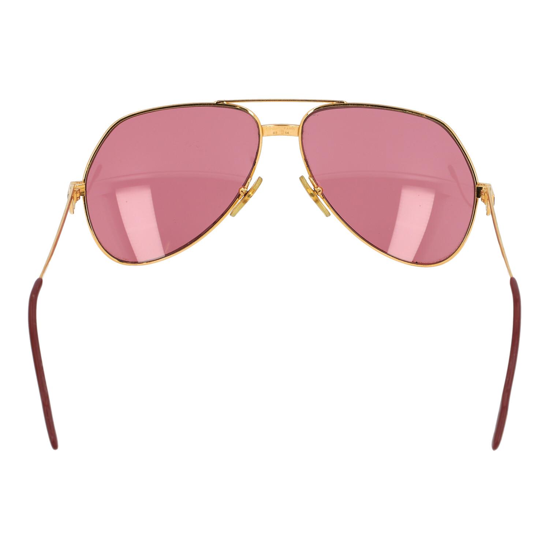 """Los 30 - CARTIER Sonnenbrille """"LOUIS VENDOME - SANTOS 62 14"""".NP.ca.: 860-€. Ca. 80ziger Jahre. Vergoldetes"""
