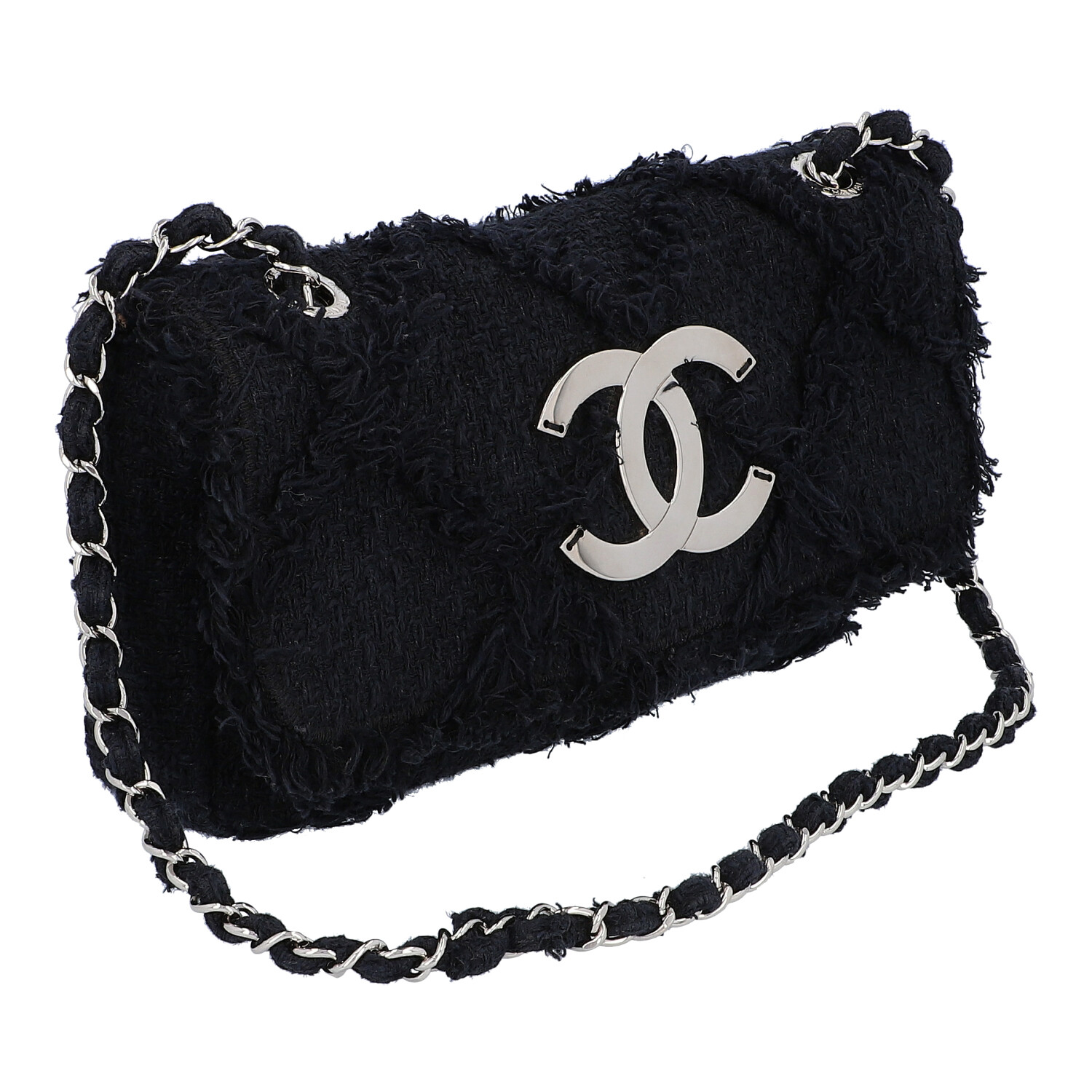 "Los 43 - CHANEL Henkeltasche ""SINGLE FLAP"", Koll.: 2009 - 2010, NP.: ca. 3.000,-€.Dunkelblauer Tweed mit"