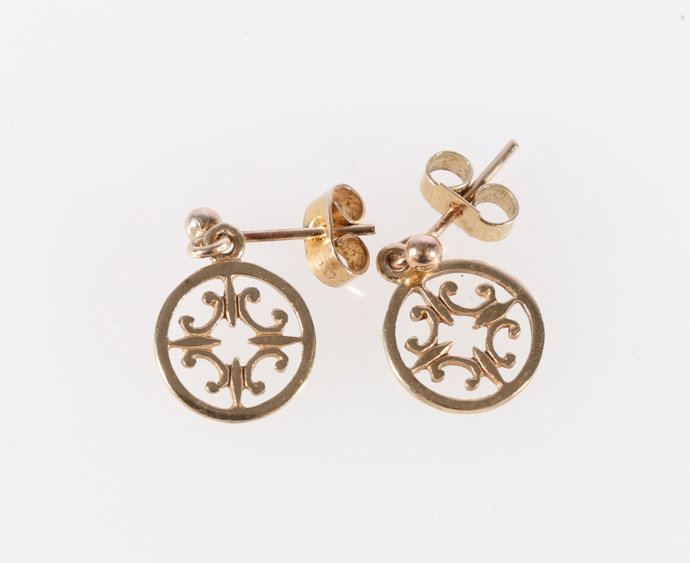 Lot 5 - Pair of 9ct yellow gold earrings of conjoined C scroll form by Marie Gorie, 1.4g
