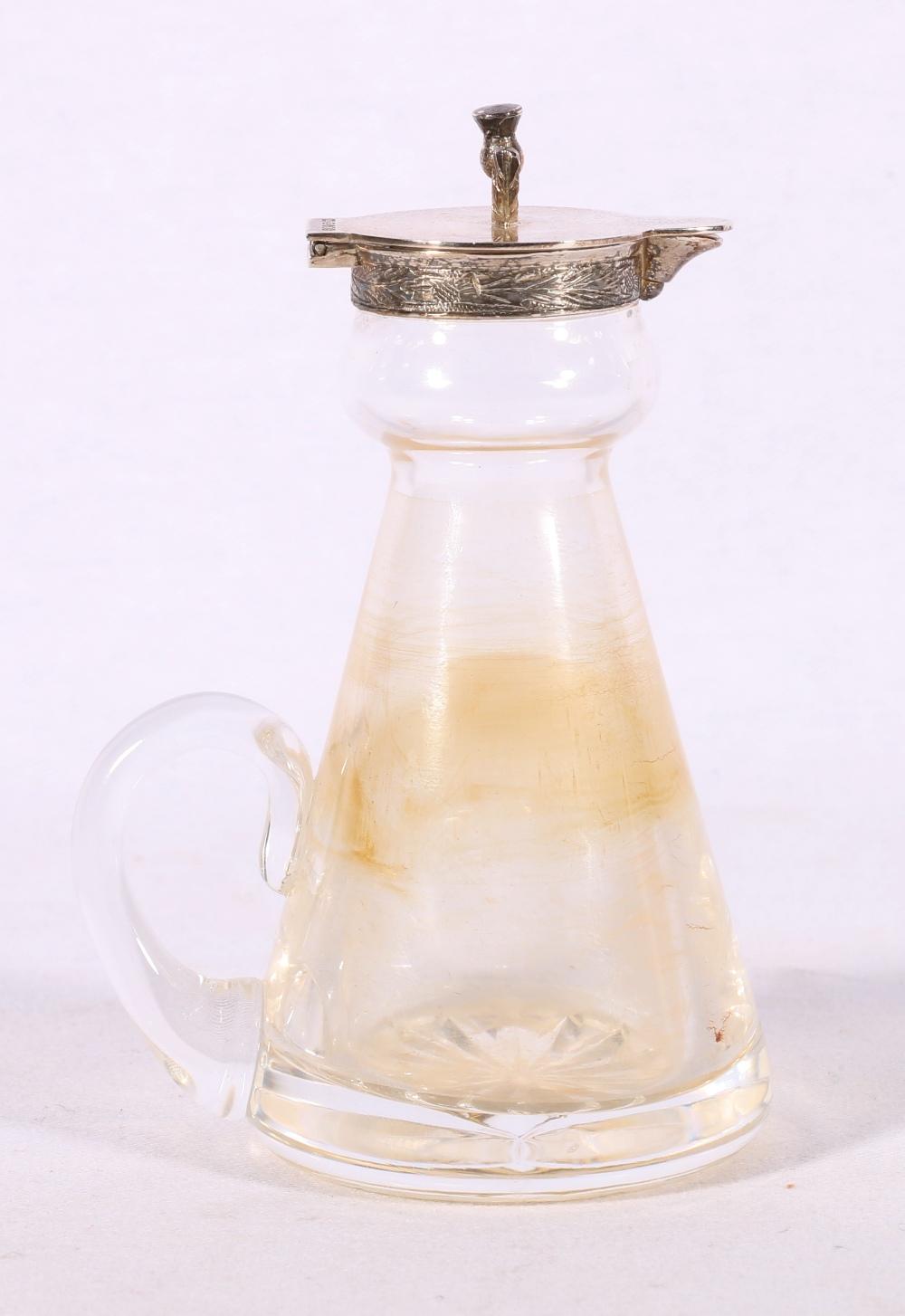 Royal Brierley glass whisky noggin with silver thistle mounts byHayward & Stott (Scottish