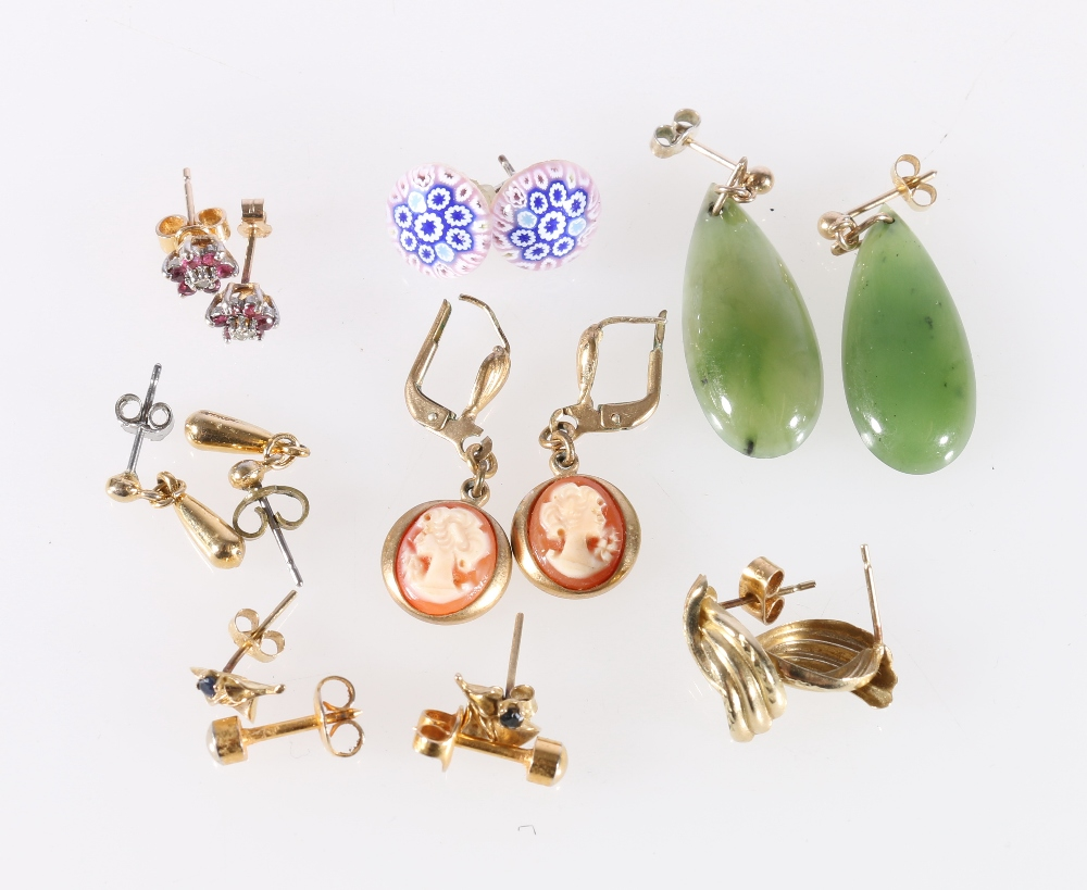 Lot 21 - Eight pairs of gold and gilt metal mounted earrings