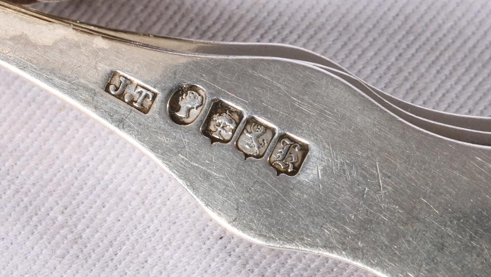 Lot 38 - Set of twelve silver Queen's pattern teaspoons byMuirhead & Arthur Glasgow 1855, a set of three