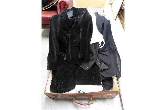 A Collection Of Vintage Clothing Including Austin Reed Dinner Jacket Trousers Velvet Suit Tail