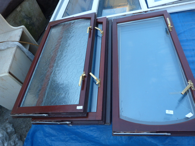 Lot 25 - Five Mahogany Effect Window with Brass Fittings