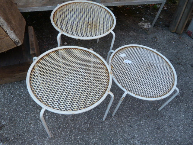 Lot 32 - Three Small Metal Garden Side Tables