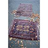 Two old Persian rugs,having geometric design, largest 155 x 96cm.