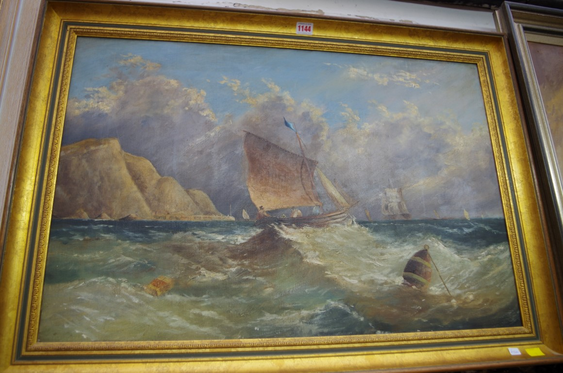 English School, sailing boat in choppy seas, unsigned, oil on canvas, 49.5 x 75cm.