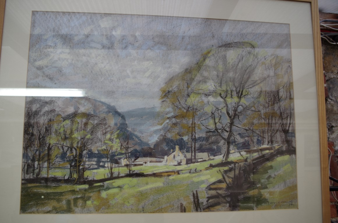 Lot 1142 - Aubrey Phillips,'Spring near Kettlewell', signed and dated '70, pastel, 51.5 x 71.5cm.