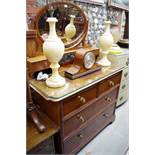 A late Victorian mahogany mirror back dressing chest,106.5cm wide.
