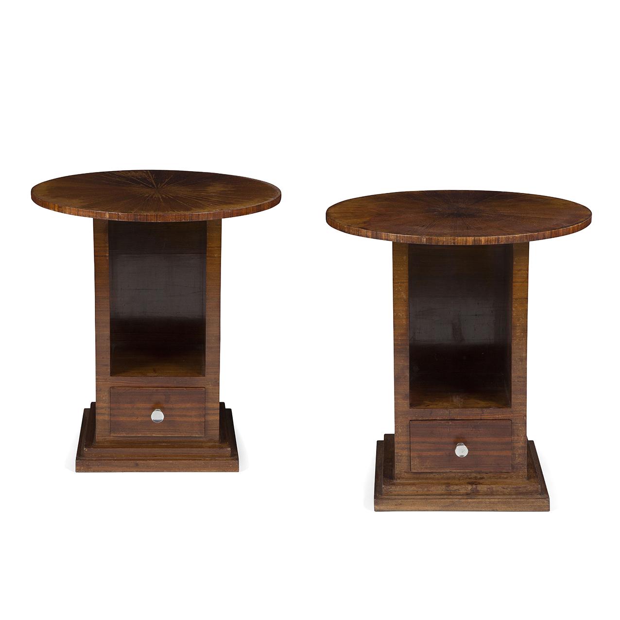 jules leleu 1883 1961 rare paire de bouts de canap ou de tables d 39 appoint ou chevets en placag. Black Bedroom Furniture Sets. Home Design Ideas