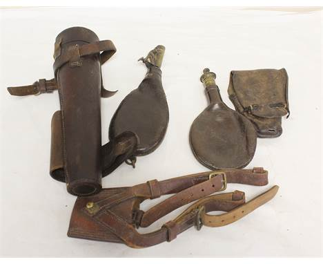Two leather powder flasks with brass spouts, riding flask holder etc. (5).