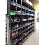 LOT/ STEEL SHELVES WITH CONTENTS - HARDWARE, ELECTRICAL COMPONENTS, GAUGES, TOOLING AND SPARE PARTS