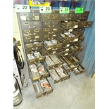 LOT/ 12 DRAWER STEEL CABINET WITH CONTENTS - HARDWARE, SPARE PARTS AND TOOLING