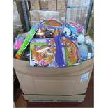 (P12) Large pallet of brand new stock to include: paw patrol bubble blower, girls lego backpacks,