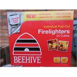 Pallet to contain 400 x packs of 24 beehive fire lighters individual pop-out (15 minutes burn time).