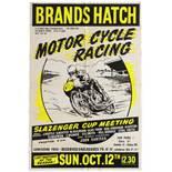 Sport Poster Brands Hatch Motorcycle Racing Slazenger Cup