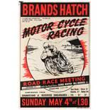 Sport Poster Brands Hatch Motorcycle Racing Road Race Meeting Derek Minter