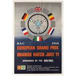 Sport Poster Formula 1 RAC European Grand Prix Brands Hatch July 1964