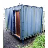 12 ft x 8 ft steel jack leg office site unit Comprising of: canteen area ** No keys but unlocked **