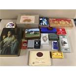 A QUANTITY OF VINTAGE TINS, INCLUDING B&H CIGARETTES, SMITH KENDON LOZENGES, EDWARD SHARP AND SONS