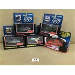 FIVE CORGI 007 DIE CAST MODEL VEHICLES, INCLUDING THUNDERBALL ASTON MARTIN DB5 AND DIE ANOTHER DAY