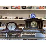 A VICTORIAN SLATE MANTLE CLOCK BY THE ANSONIA CLOCK CO, PATENTED JUN 18TH 1882, TOGETHER WITH A