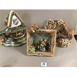 THREE PENDELFIN FIGURE STANDS, COMPRISING THE VILLAGE POND, CURIOSITY SHOP AND TOY SHOP