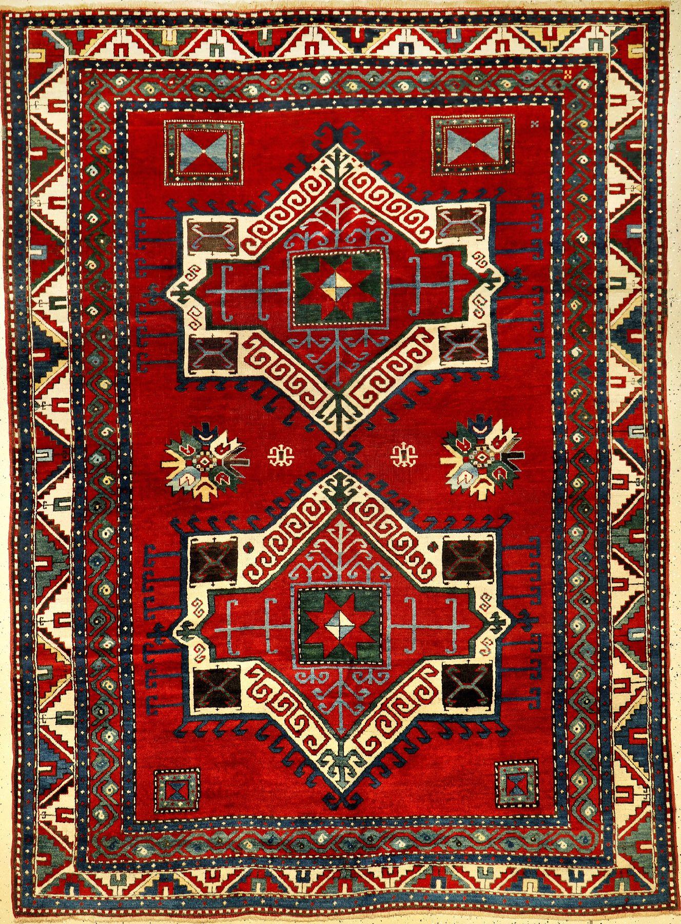 Fachralo Kazak antique, Southwest Caucasus, late 19th century, wool on wool, approx. 260 x190 cm,