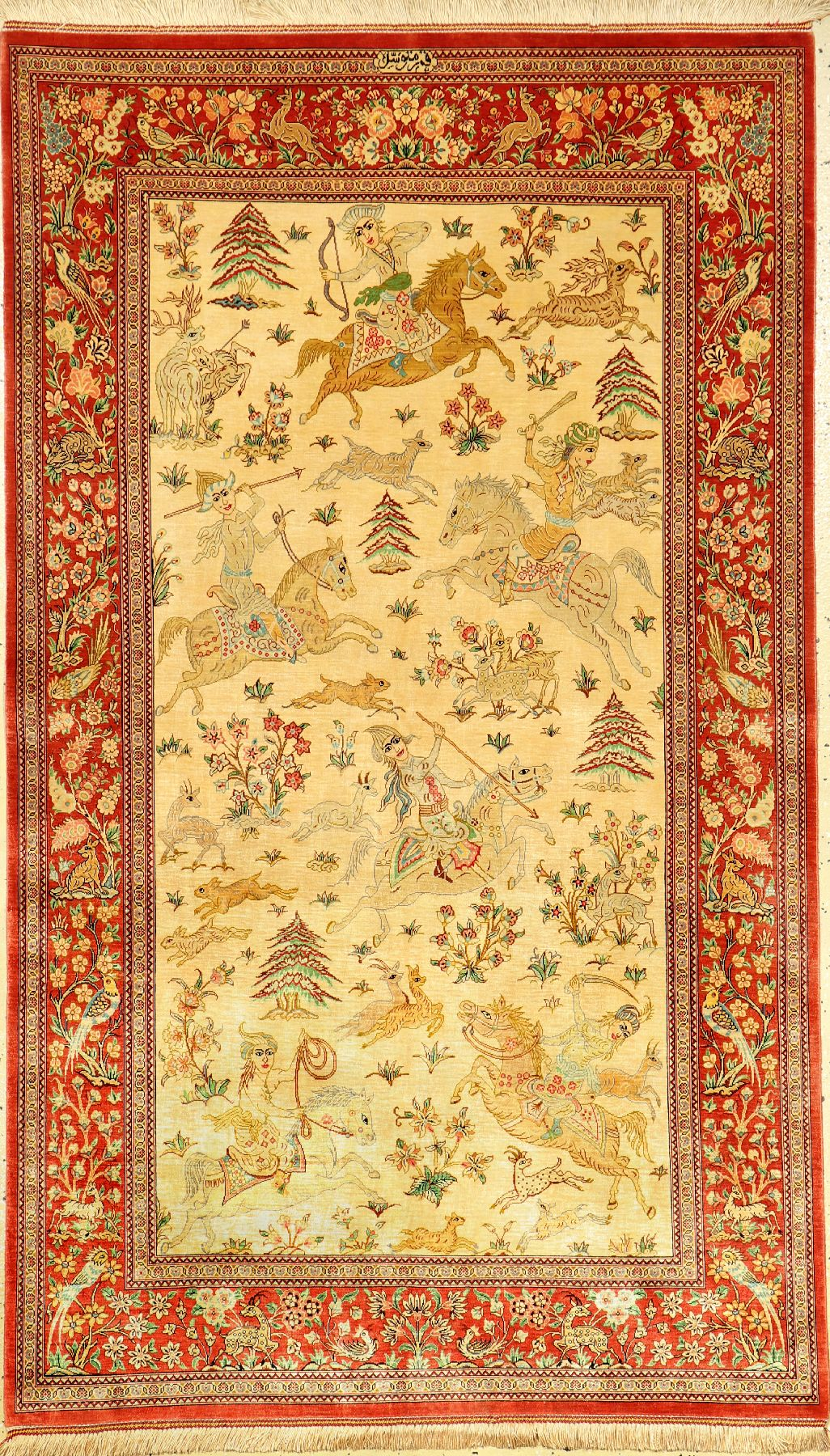 Very fine silk Qum (signed), Persia, approx. 15 years old, pure natural silk, approx. 167 x100 cm,