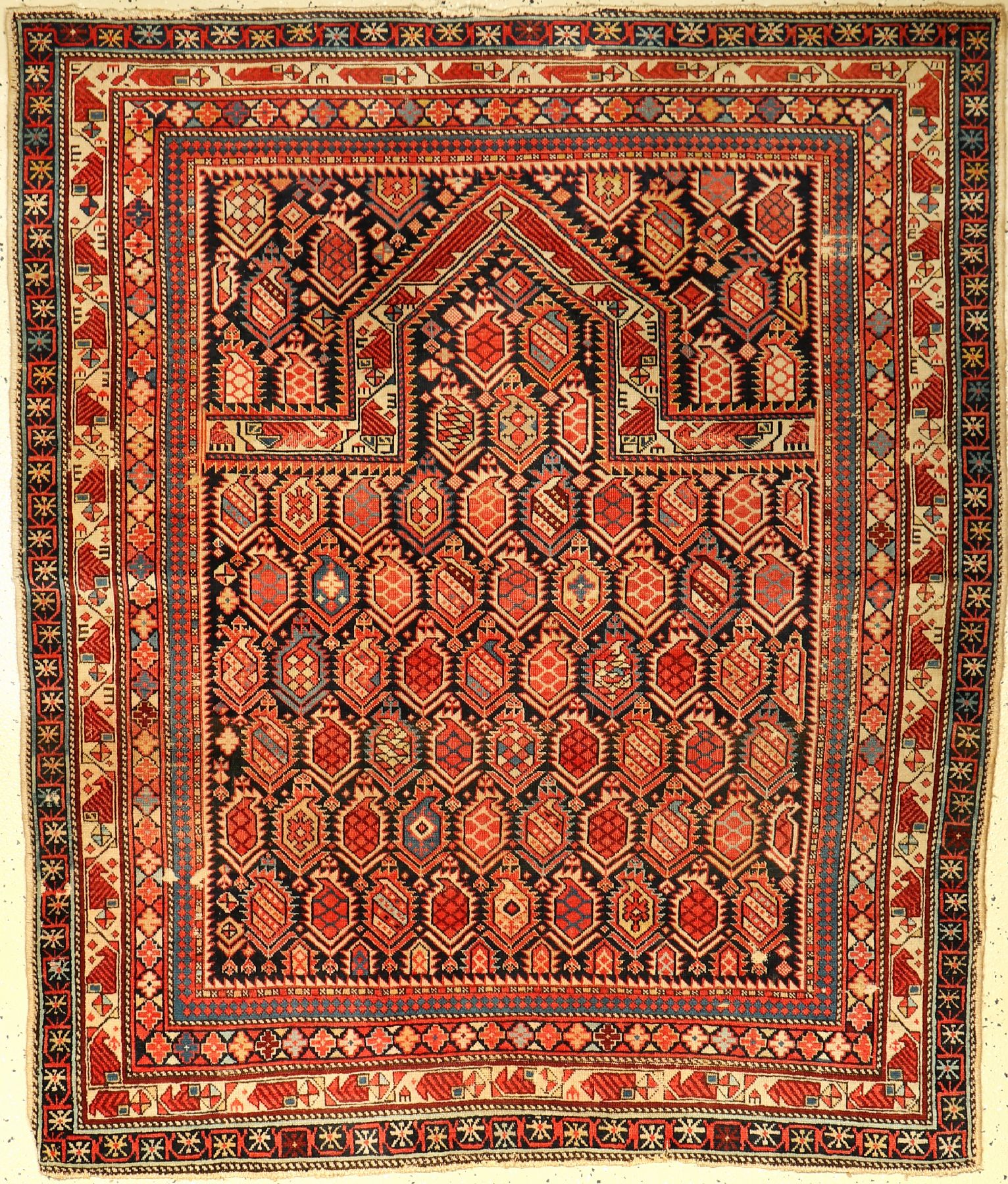"Marasali ""prayer rug"", antique, Caucasus, around 1890, wool on wool, approx. 150 x 130 cm,"