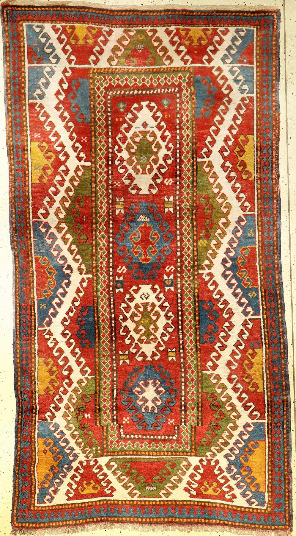 Bordjalou Kazak antique, Caucasus, around 1900, wool on wool, approx. 250 x 133 cm, collector's