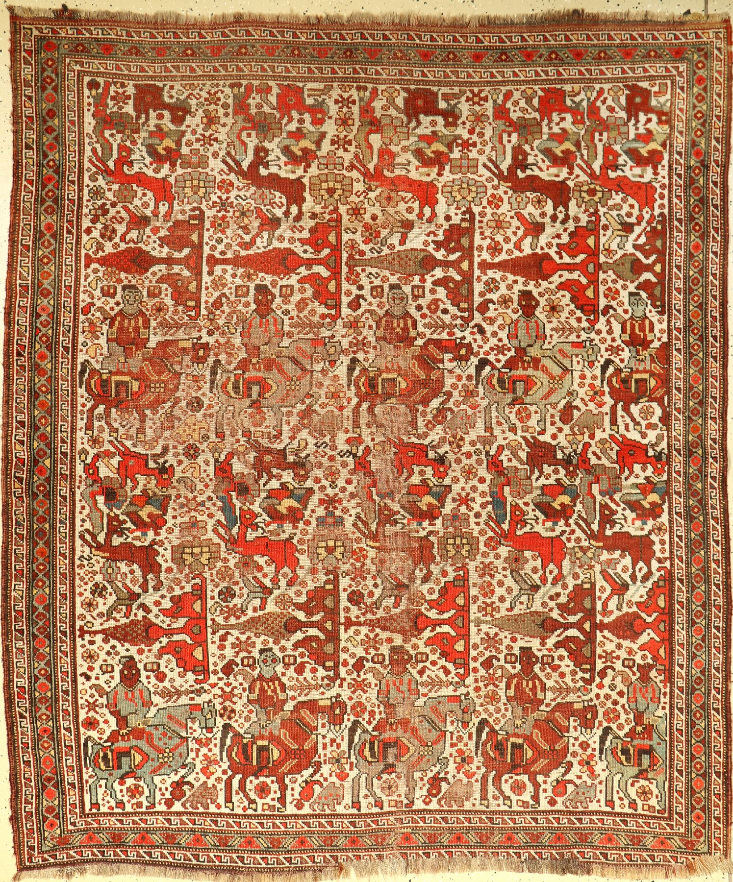 Antique Khamseh, Persia, late 19th century, wool on wool, approx. 188 x 160 cm, rare pattern type,