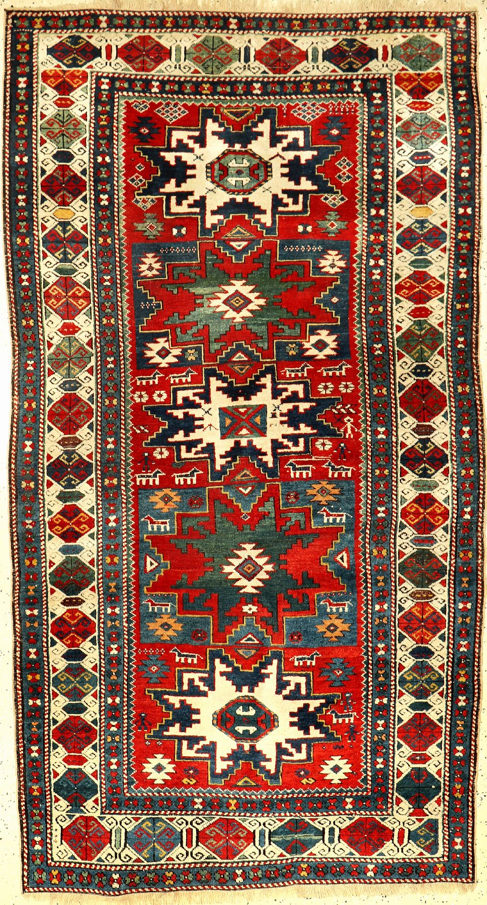 Kuba Shirvan antique, East Caucasus, 19th century, wool on wool, approx. 217 x 120 cm, rare,