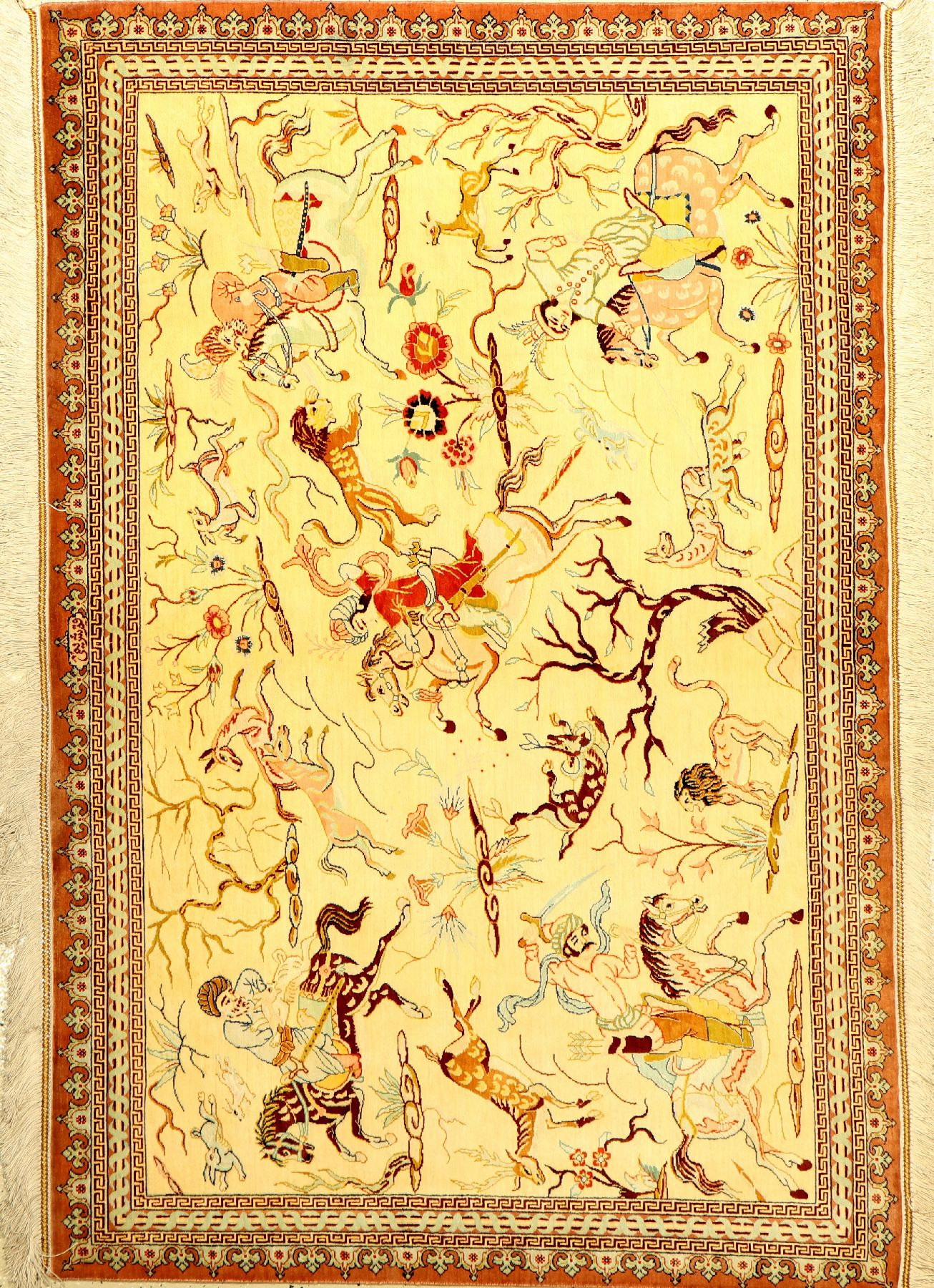 Very fine silk Qum (signed), Persia, approx. 15 years old, pure natural silk, approx. 147 x100 cm,