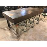 """DESCRIPTION: 72"""" X 35"""" STEEL FABRICATION TABLE / WELDING TABLE. SIZE: 72"""" X 25"""" X 6"""" LOCATION: FRONT"""