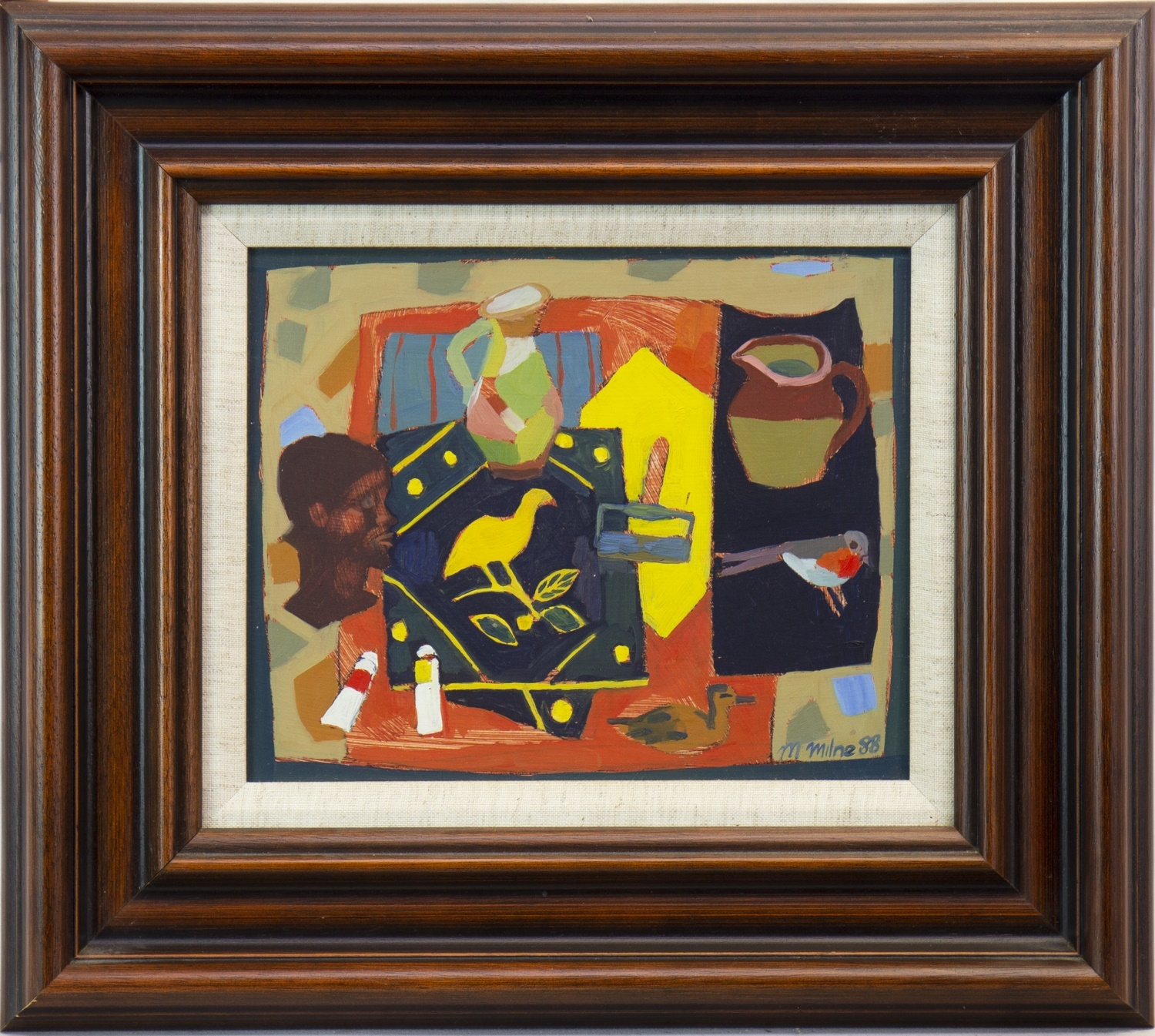 Lot 529 - TABLE TOP STILL LIFE, AN OIL BY MAGGIE MILNE